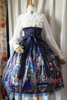 Surface Spell -The Rosary- Printed High Waist Gothic Lolita Skirt