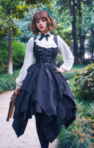 Surface Spell -Gothic Academy- Striped Irregular Hemline High Waist Lolita JSK Jumper Skirt