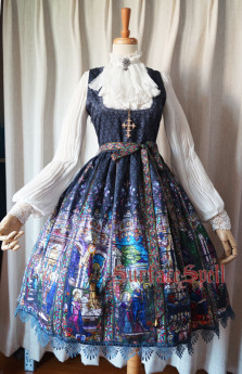 Surface Spell -The Rosary- Printed High Waist Corset Gothic Lolita JSK Jumper Skirt