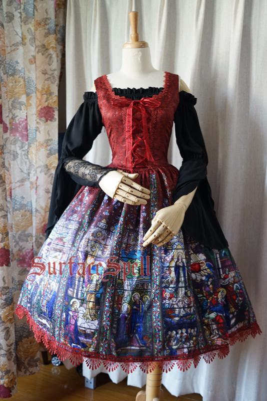 Surface Spell -The Rosary- Printed High Waist Gothic Lolita JSK Jumper Skirt