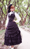 Surface Spell -Gothic Academy- Striped High Waist Ankle Length Long Gothic Lolita Skirt