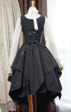 Surface Spell -Gothic Academy- Striped Irregular Hemline High Waist Lolita JSK Jumper Skirt