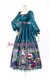 Surface Spell -The Rosary- Printed High Waist Ankle Length Peacock Green Gothic Lolita OP One Piece Dress