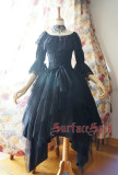 Surface Spell -White Crystal and Black Agate- Steel Boning High Waist Gothic Lolita Skirt