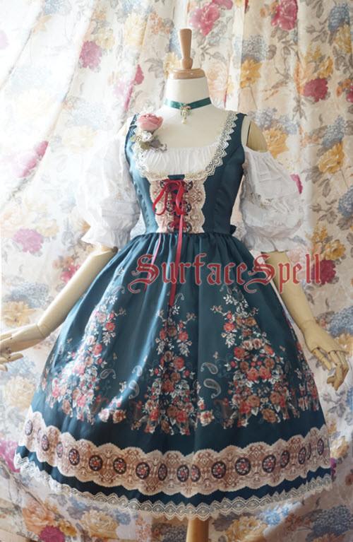 Surface Spell -Alpine Rose- Gothic Lolita Corset JSK Jumper Skirt
