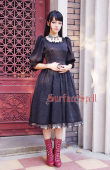 Surface Spell -Lady in Black- Puff Long Sleeves Vintage Gothic Lolita OP One Piece Dress