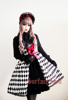 Surface Spell -Virtual Joker- Argyle Gothic Lolita Jumper Dress