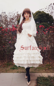 Surface Spell -The Nymphaeum- Long Sleeves Plicated Gothic Uniclor Lolita OP One Piece Dress