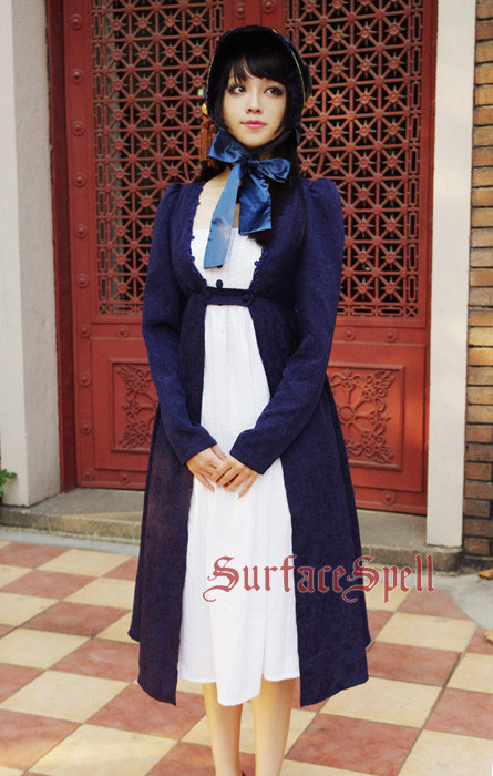 Surface Spell -Emma- Long Sleeves Vintage Dark Striped Jaquard Weave Lolita OP One Piece Dress