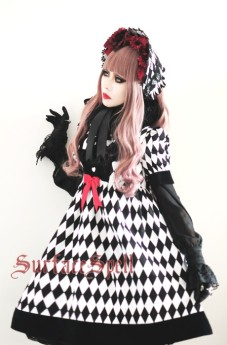 Surface Spell -Virtual Joker- High Waist Short Sleeves Argyle Gothic Lolita OP One Piece Dress