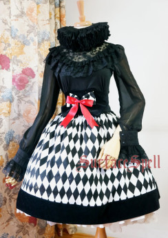 Surface Spell -Virtual Joker- Black and White Argyle High Waist Fishbones Gothic Lolita Skirt