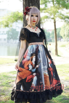 Surface Spell -L'annonce faite a marie- Short Sleeves Gothic Lolita OP One Piece Dress