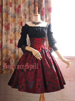 Surface Spell -Lady in Darkness- Dark-striped High Waist Fishbone Lolita Skirt