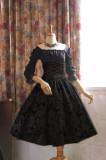 Surface Spell -Lady in Darkness- Dark-striped High Waist Fishbone Lolita Skirt