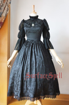 Surface Spell -Lady in Darkness- Middle Length Sleeves Dark-striped Stand Collar Lolita OP One Piece Dress