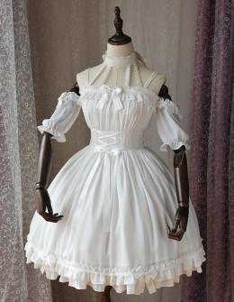 Magic Tea Party -Ballet- Off Shoulder Halter Neckline Sweet Lolita OP One Piece Dress with Detachable Sleeves