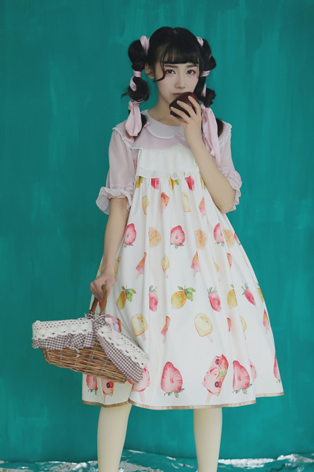 Summer Fairy -Strawberry- High Waist Casual Lolita JSK Jumper Dress