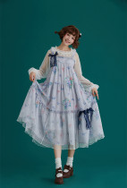 Summer Fairy -Hydrangea- High Waist Casual Lolita JSK Jumper Dress with Adjustable Shoulder Strap