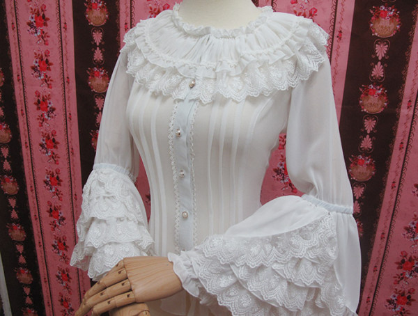 Yilia - Long Flare Sleeve Chiffon Classical Vintage Lolita Blouse