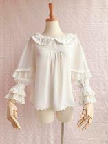 Yilia - Middle Length Flare Sleeve Chiffon Sweet Vintage Lolita Blouse