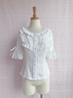 Yilia - Short Sleeve Chiffon Sweet Lolita Blouse