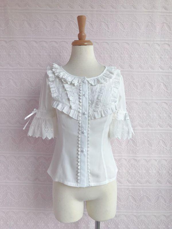 Yilia - Short Sleeve Chiffon Sweet Lolita Blouse