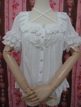 Yilia - Short Sleeve Chiffon Halter Neckline Sweet Lolita Blouse