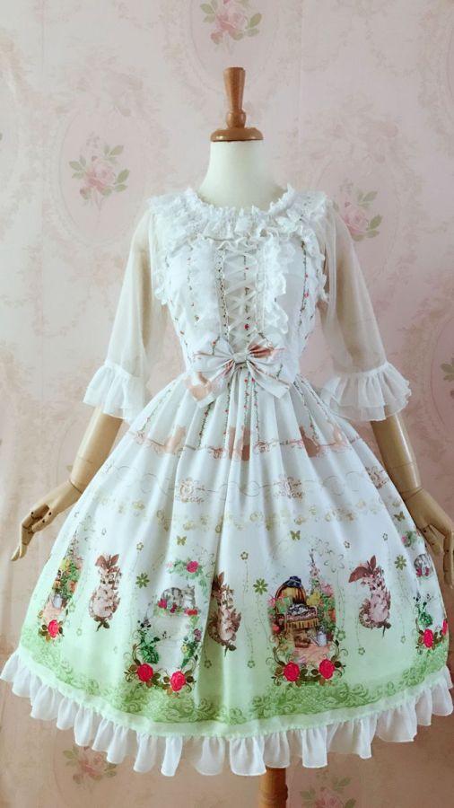 Yilia -Cat in Garden- Chiffon Sweet Lolita JSK Jumper Dress