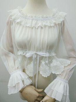 Yilia - Long Flare Sleeve Chiffon Sweet Lolita Blouse