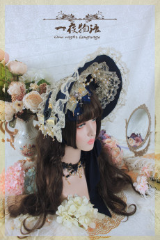 One Night Language - Classic Lolita Acessories(Bonnet, Necklace)