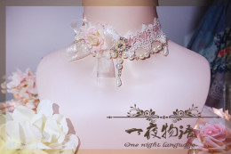 One Night Language - Lace and Bead Classic Lolita Necklace
