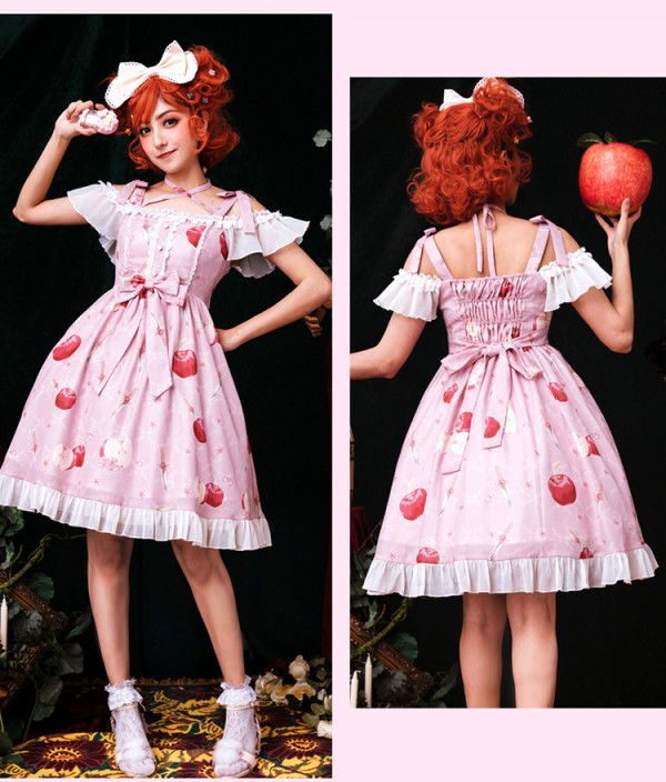 Brocade Garden -Apple Garden- Sweet Casual Lolita JSK Jumper Skirt Dress with Adjustable Sleeves