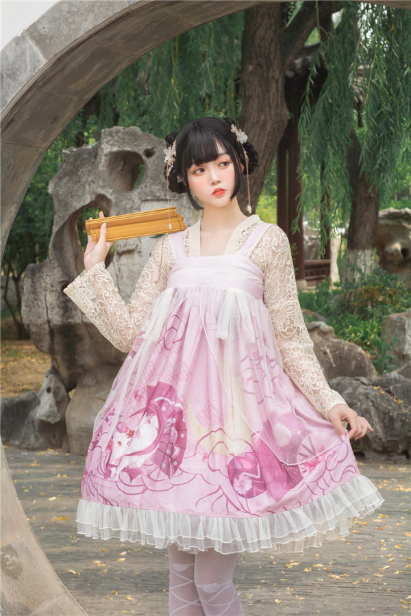 Diamond Star -Cherry Rabbit- High Waist Qi Lolita JSK Jumper Skirt Dress