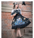 Yingluofu -The Night- Black Gothic Lolita JSK Jumper Skirt