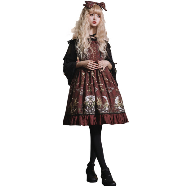 Eieyomi -The Altar of Moon Spirit- Classic Vintage Lolita JSK Jumper Dress