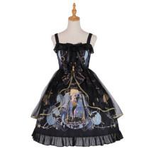 Yingluofu -The Night- Black Gothic Lolita JSK Jumper Skirt