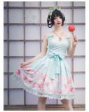 Yingluofu -Sakura- Japanese Sweet Lolita Full Set(JSK, Bolero and 2 Hairclips)
