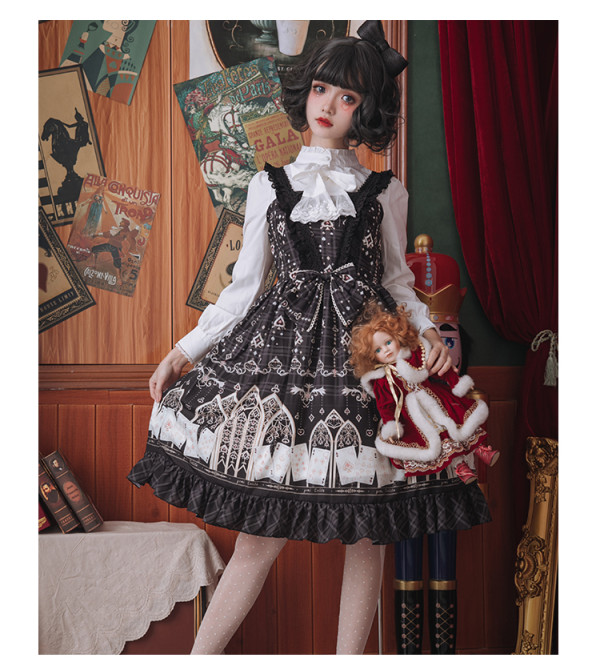 Eieyomi -Poker City- Classic Vintage Lolita JSK Jumper Dress