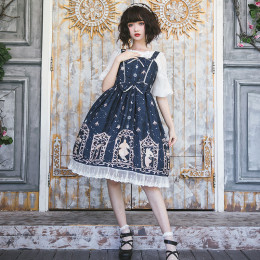 Eieyomi -The Night Of Star Falling- Classic Vintage Lolita JSK Jumper Dress