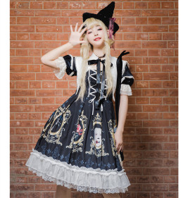 Yingluofu -Crack Love- Black Gothic Lolita OP One Piece Dress