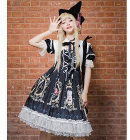 Yingluofu -Crack Love- Black Gothic Lolita OP One Piece Dress