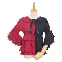 Magic Tea Party -Chocolate Rabbit- Long Flare Sleeve Two Split Color Lolita Blouse