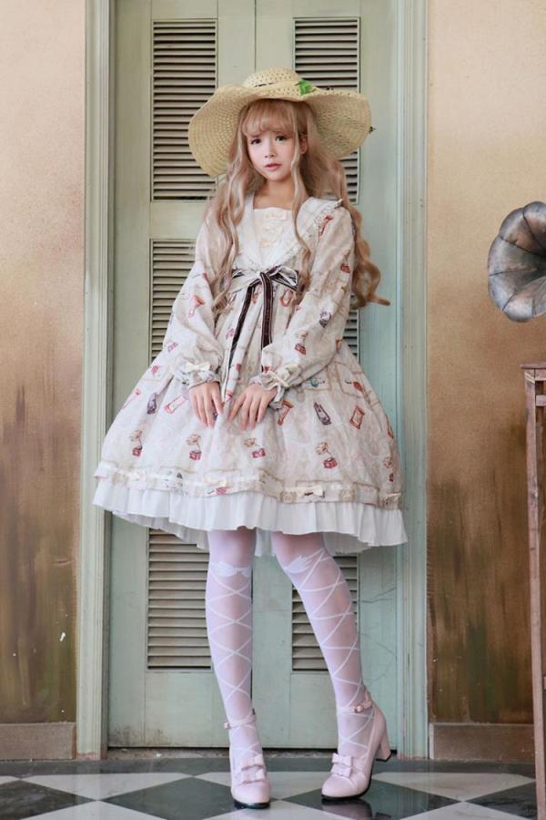 Ailin -Time Diaries- High Waist Long Sleeve Sweet Lolita OP One Piece Dress
