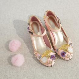 Blooming Flower - High Chunky Heel Pointed Toe Classic Vintage Lolita Shoes