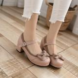 Blooming Flower - Low Chunky Heel Round Toe Buckle Classic Vintage Lolita Shoes with Bow