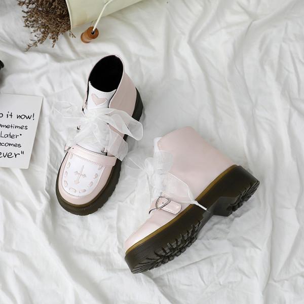 Little Monk - High Heel Round Toe Buckle Platform  Ankle Length Pink Sweet Lolita Boots
