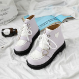 Little Monk - Round Toe Buckle Ankle Length Sweet Lolita Flat Boots for Autumn and Winter