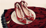 Rose and Cross Lolita Heel Shoes with Beads(Satin-mixed PU Version)