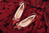 Rose and Cross Lolita Heel Shoes with Beads(Leather Version)