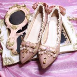 Rose and Cross Lolita Heel Shoes with Beads(Suede-mixed PU Version)